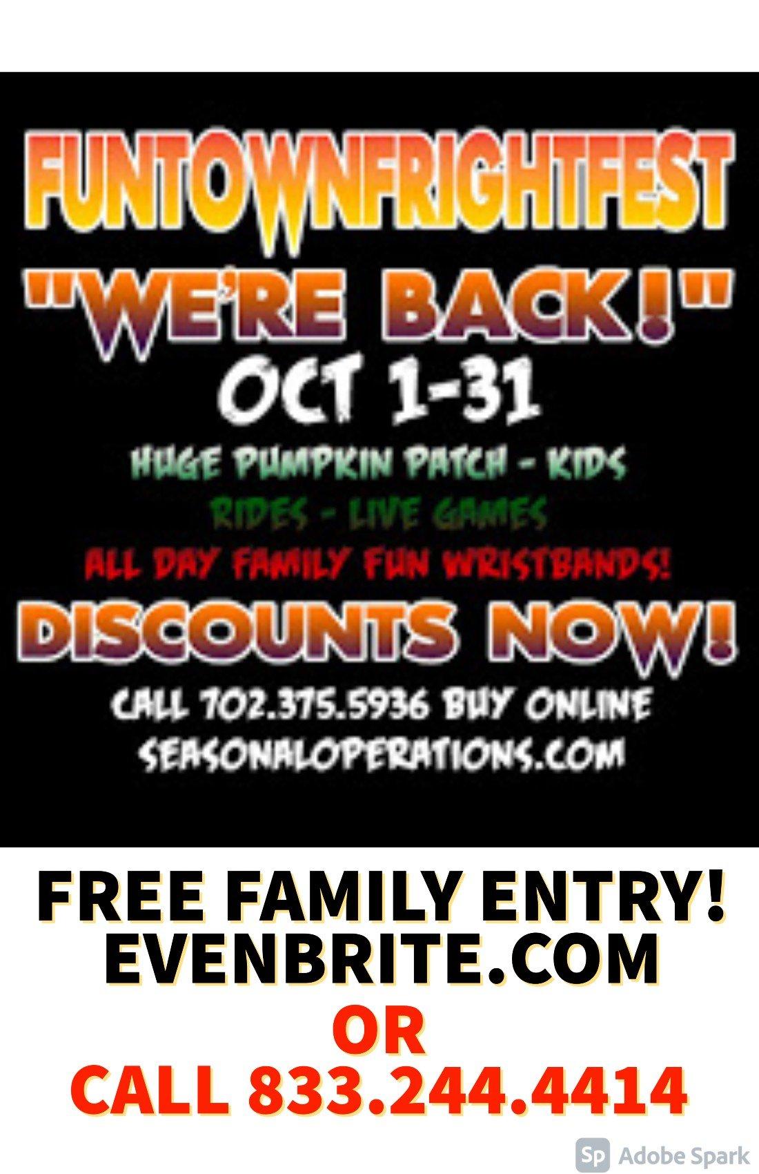 11th ANNUAL FUNTOWN FRIGHTFEST FAMILY HALLOWEEN FESTIVAL & PUMPKIN PACTH